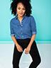 Remade Women Long Sleeve Button-Down Shirt Size 3X (Plus)